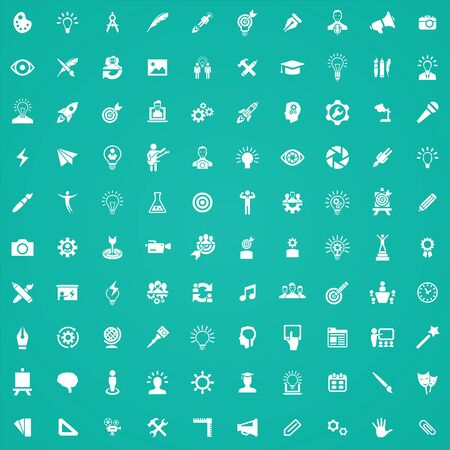 creative process 100 icons universal set for web and UI. Ilustrace