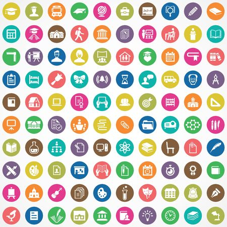 school 100 icons universal set for web and UI.