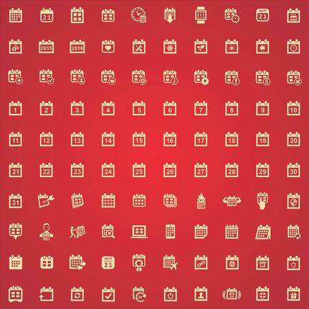 calendar 100 icons universal set for web and UI. Ilustrace