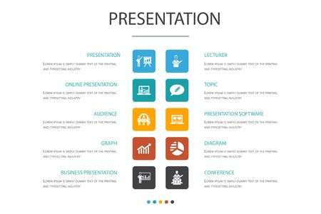 presentation Infographic 10 option concept. lecturer, topic, business presentation, diagram icons Reklamní fotografie - 130777763