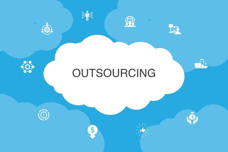 outsourcing Infographic cloud design template. online interview, freelance, business process, outsource team icons