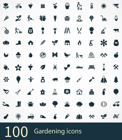 gardening 100 icons universal set for web and UI. Ilustrace