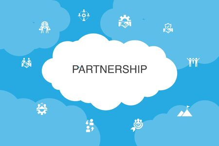 Partnership Infographic cloud design template. collaboration, trust, deal, cooperation icons