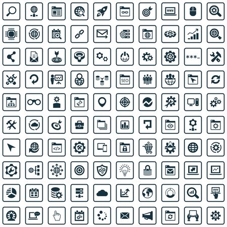 seo 100 icons universal set for web and UI.