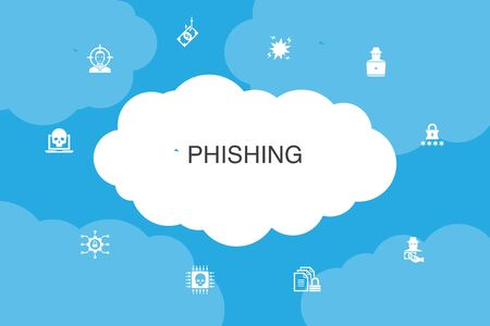 phishing Infographic cloud design template. attack, hacker, cyber crime, fraud icons Foto de archivo - 130777777