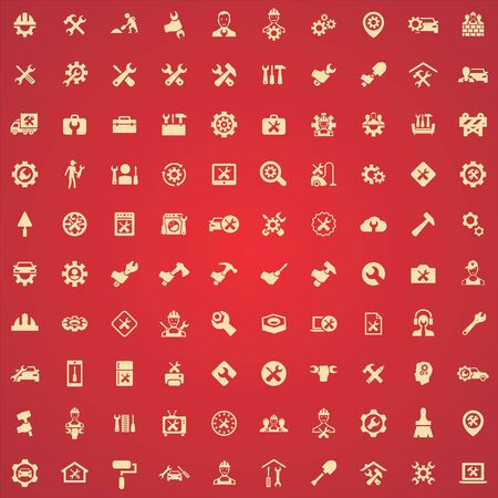 repair 100 icons universal set for web and UI.