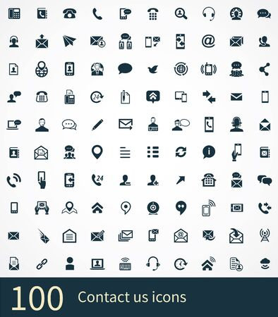 contact us 100 icons universal set for web and UI. Reklamní fotografie - 130777785