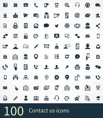 skontaktuj się z nami 100 ikon uniwersalny zestaw dla sieci web i UI. Ilustracje wektorowe