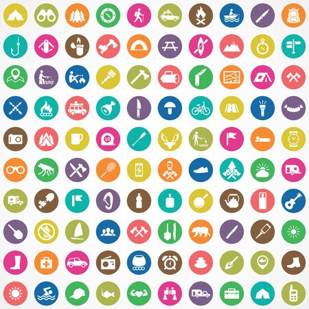 camping 100 icons universal set for web and UI. Ilustrace
