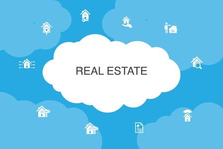 Real Estate Infographic cloud design template. Property, Realtor, location, Property for sale icons