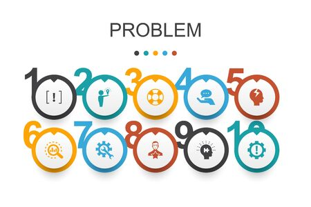problem Infographic design template.solution, depression, analyze, resolve icons