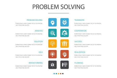 problem solving Infographic 10 option concept. analysis, idea, brainstorming, teamwork icons