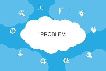 problem Infographic cloud design template. solution, depression, analyze, resolve icons