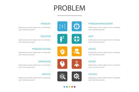 problem Infographic 10 option concept. solution, depression, analyze, resolve icons