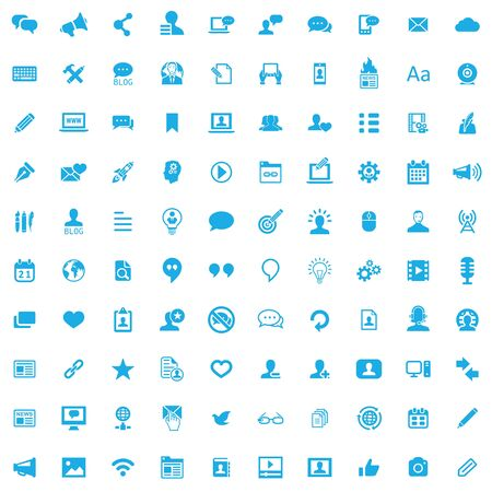 blog 100 icons universal set for web and UI. Ilustrace