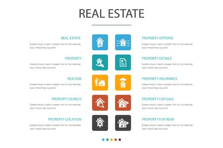 Real Estate Infographic 10 option concept. Property, Realtor, location, Property for sale icons Ilustrace