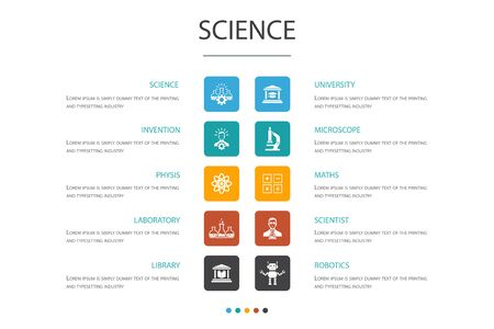 Science Infographic 10 option concept. invention, physics, laboratory, university icons Ilustrace