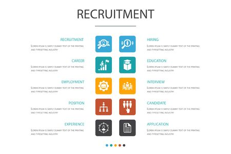 recruitment Infographic 10 option concept. career, employment, position, experience icons Vectores