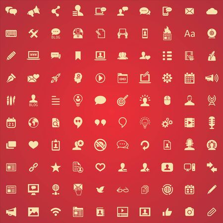 blog 100 icons universal set for web and UI. Zdjęcie Seryjne - 130777541