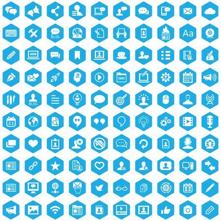 blog 100 icons universal set for web and UI. Zdjęcie Seryjne - 130777545