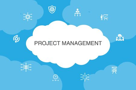 Project management Infographic cloud design template. Project presentation, Meeting, workflow, Risk management icons