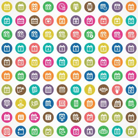 calendar 100 icons universal set for web and UI. Stock Illustratie