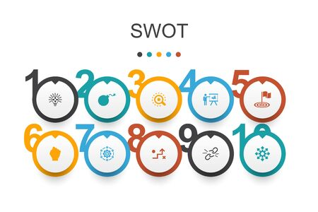 SWOT Infographic design template. Strength, weakness, opportunity, threat simple icons Çizim