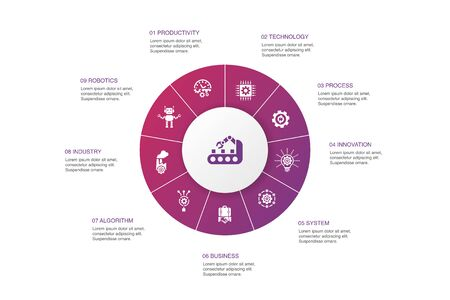 Automation Infographic 10 steps circle design.productivity, technology, process, algorithm icons Stock Illustratie