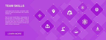 team skills banner 10 icons concept.Collaboration, cooperation, teamwork, communication simple icons