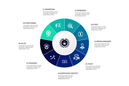brand Infographic 10 steps circle design.marketing, research, brand manager, strategy icons