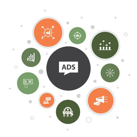 advertising Infographic 10 steps bubble design. Market research, Promotion, Target group, Brand Awareness icons