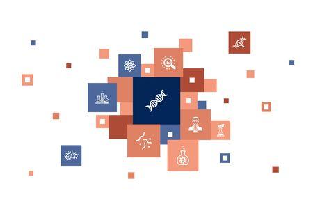 Biotechnology Infographic 10 steps pixel design. DNA, Science, bioengineering, biology icons Illustration