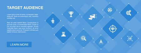 target audience banner 10 icons concept.consumer, demographics, niche, promotion icons  イラスト・ベクター素材