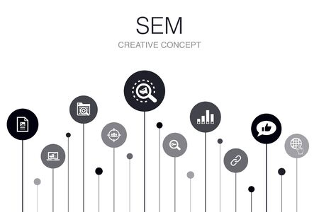 SEM Infographic 10 steps template. Search engine, Digital marketing, Content, Internet icons