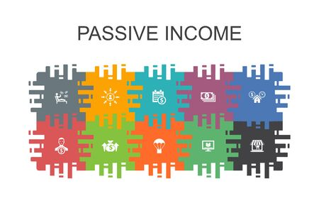 passive income cartoon template with flat elements. Contains such icons as affiliate marketing, dividend income, online store, rental property