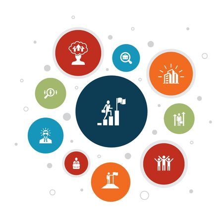Infographie de carrière 10 étapes de conception de bulles. entreprise, leadership, embauche, icônes de recherche d'emploi Vecteurs
