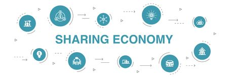 Sharing economy Infographic 10 steps circle design. coworking, car sharing, Crowdfunding, innovation icons