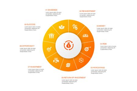 capital Infographic 10 steps circle design.dividends, money, investment, success icons Illustration
