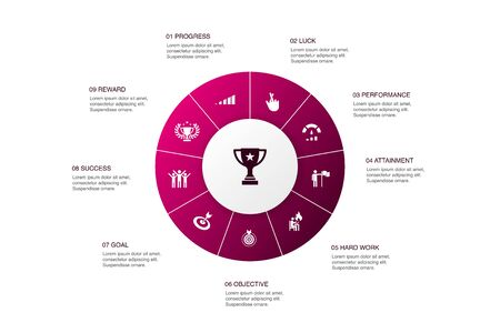 achievement Infographic 10 steps circle design.progress, performance, goal, success icons