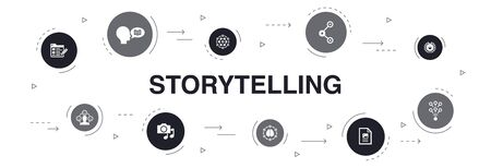 storytelling Infographic 10 steps circle design.content, viral, blog, emotion icons Иллюстрация