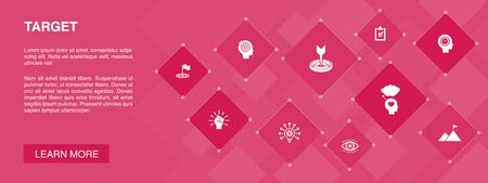 target banner 10 icons concept.big idea, task, goal, patience icons Illustration