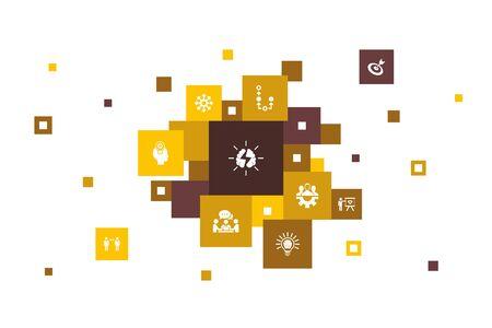 brainstorming Infographic 10 steps pixel design. imagination, idea, opportunity, teamwork icons