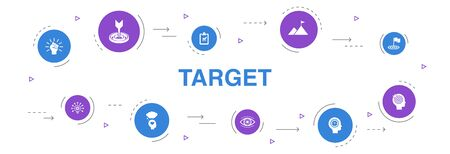 target Infographic 10 steps circle design.big idea, task, goal, patience icons  イラスト・ベクター素材