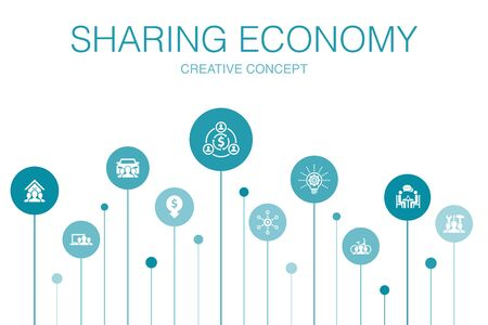 Sharing economy Infographic 10 steps template. coworking, car sharing, Crowdfunding, innovation icons