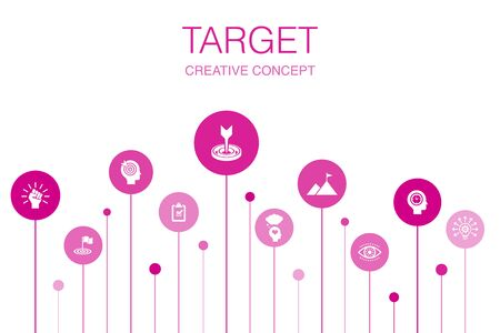 target Infographic 10 steps template. big idea, task, goal, patience icons  イラスト・ベクター素材