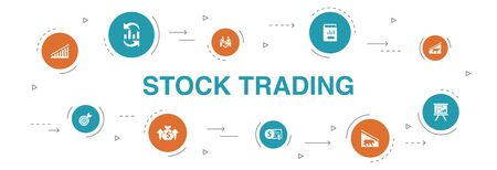 stock trading Infographic 10 steps circle design.bull market, bear market, annual report, target icons Illustration