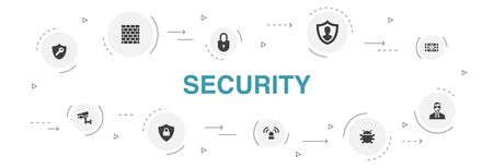 Security Infographic 10 steps circle design.protection, security camera, key, bomb icons Foto de archivo - 130777028