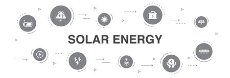 Solar energy Infographic 10 steps circle design.Sun, battery, battery, renewable energy, clean energy icons Ilustracja