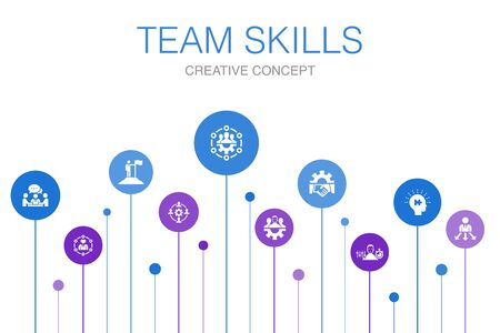 team skills Infographic 10 steps template. Collaboration, cooperation, teamwork, communication icons