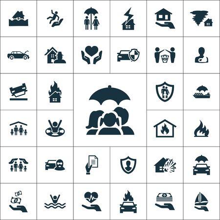 icônes d'assurance universelles définies pour le web et le mobile. Vecteurs